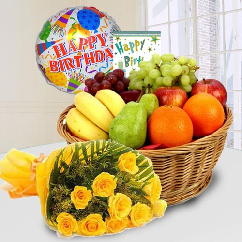 Marvelous Fresh Fruits Basket with Yellow Rose Bouquet