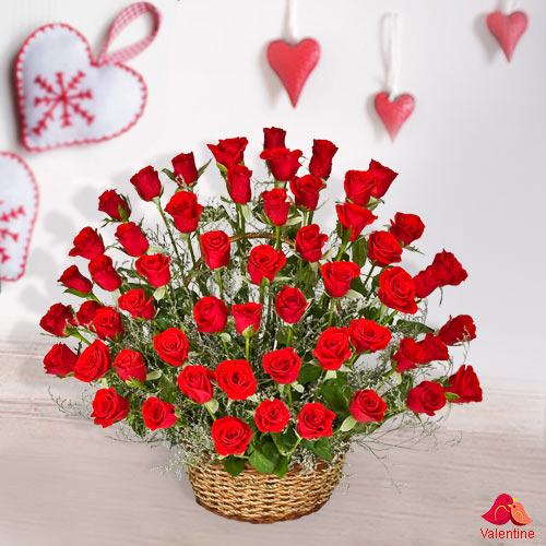 51 Exclusive Dutch Red Roses  Arrangement