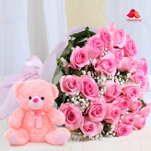 12 Pink Roses Bunch with 6 inch Teddy