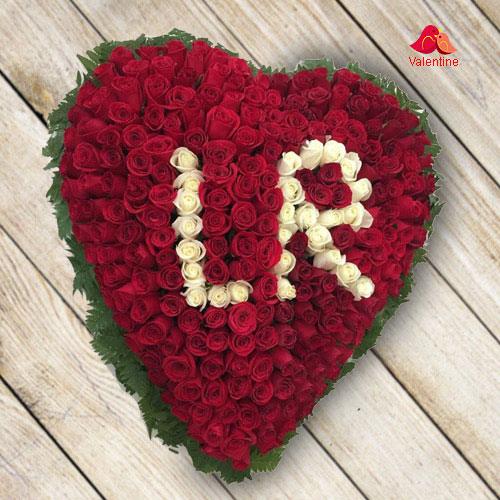Alphabet Series: 100 Red Roses Heart Arrangement