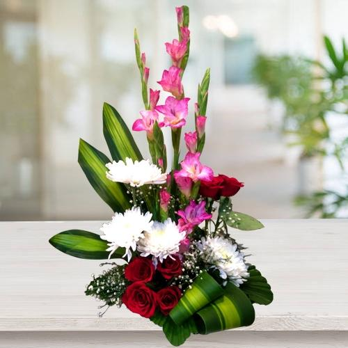 Cheerful Mixed Flowers Arrangement