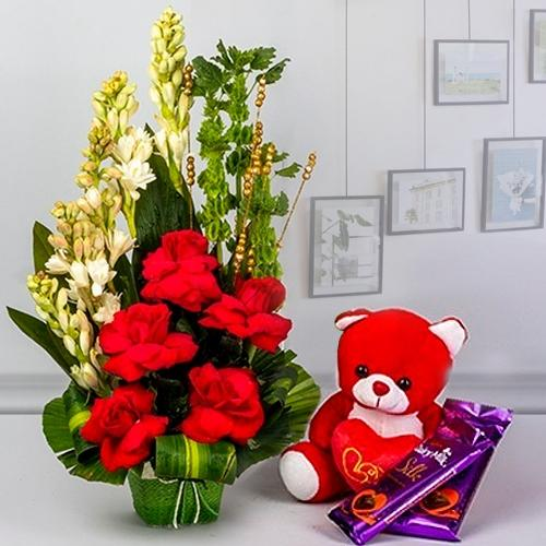 Glorious Combo of Fresh Flowers with Teddy n Cadbury Chocolates
