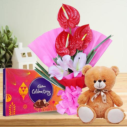 Attractive Combo of Flowers Bouquet with Cute Teddy n Chocolates
