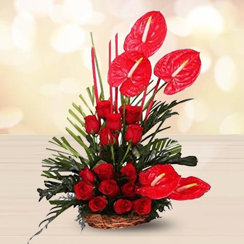 Charming Arrangement of Red Flowers