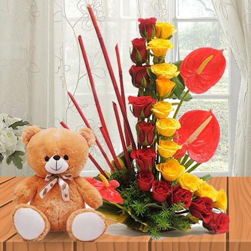 Lovely Anthodium N Roses Arrangement with Cute Teddy