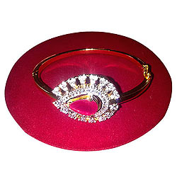 Exclusive Red Stone and Rhinestone Studded Fancy Bangle from Anjali