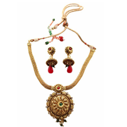 Wonderful Golden Necklace N Earring Set