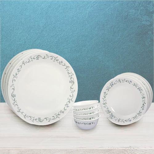 Eye-Catching Corelle White n Green Country Cottage Dinner Set