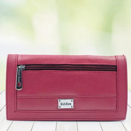 Amusing Womens Red Color Leather Vanity Bag