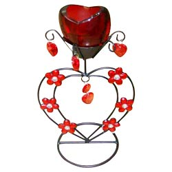 Exclusive Red Wrought Iron Candle Stand Gift