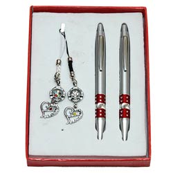 Exquisite Twin Pen with Key Ring N Mobile Ring Gift Set