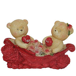 Amazing Couple Teddy with Two Hearts and Roses in a Boat