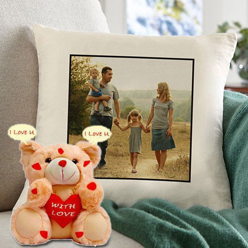 Eye Catching Personalized Cushion with an I Love You Singing Teddy