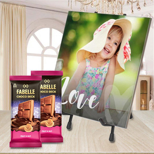 Smarty Personalized Photo Tile with ITC Fabelle Twin Chocolates