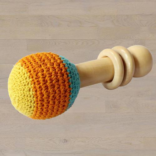 Exclusive Wooden Non-Toxic Crochet Shaker Rattle Toy
