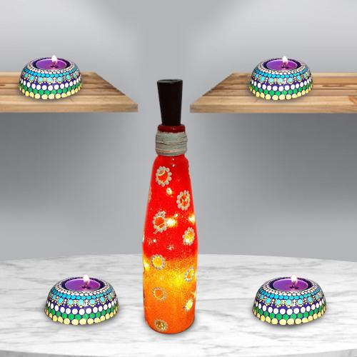 Magnificent Dot Mandala Art Diya with Bottle Art Lighting Lamp