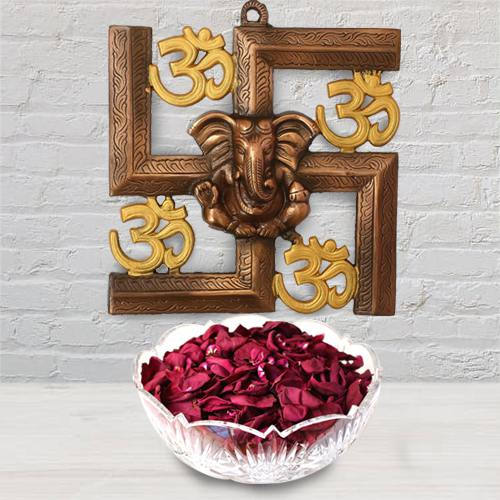 Pious Ganesha N Om Wall Hanging with Iris Potpourri
