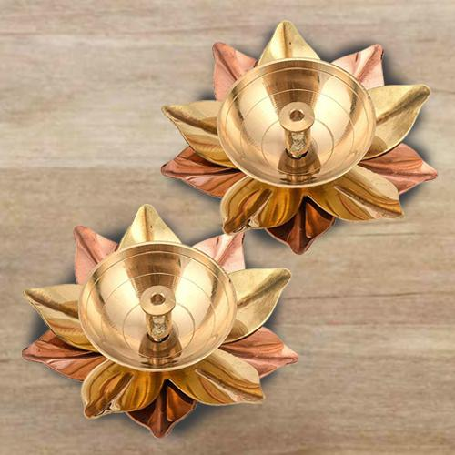 Exclusive Set of Dual Lotus Shaped Deepak