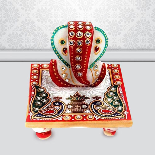 Auspicious Marble Ganesh Chowki with Peacock Design