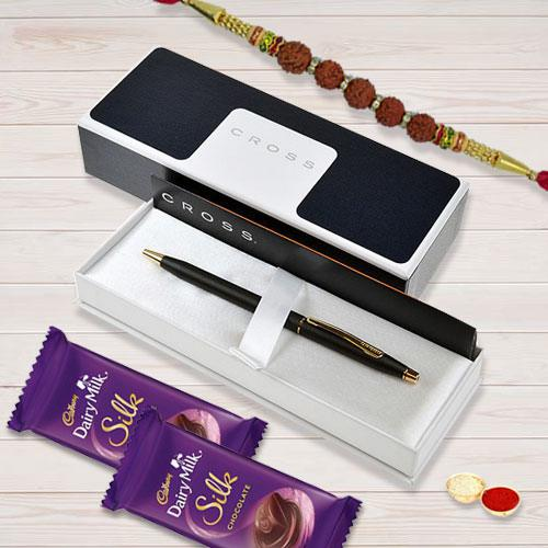 Cross Tech Ball Pen with Cadbury Chocolates n Rudraksha Rakhi