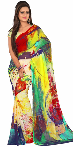 Gaudy Digital Printed Georgette Saree in Multicolour