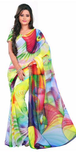Popular Digital Printed Georgette Saree in Multicolour