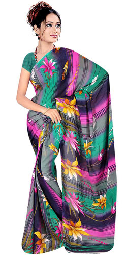 Chic Collection of Printed Georgette Saree from Suredeal