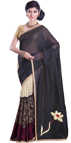 Polished Vanity Net Chanderi Saree