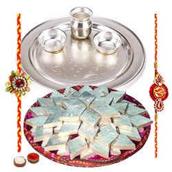 Appealing Haldirams Badam Katli and Silver Plated Thali with 2 Free Rakhi, Roli Tilak and Chawal for your Precious Brother on the Occasion of Rakhi