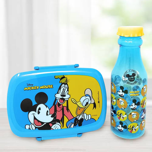 Delightful Mickey Mouse Lunch Box n Water Bottle Set