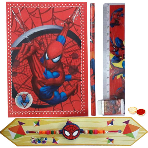 Spiderman Stationery Set with Spiderman Rakhi with Roli, Tilak and Chawal.